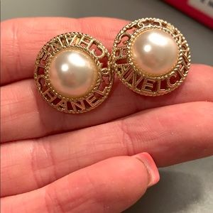 Authentic Chanel Button Earrings